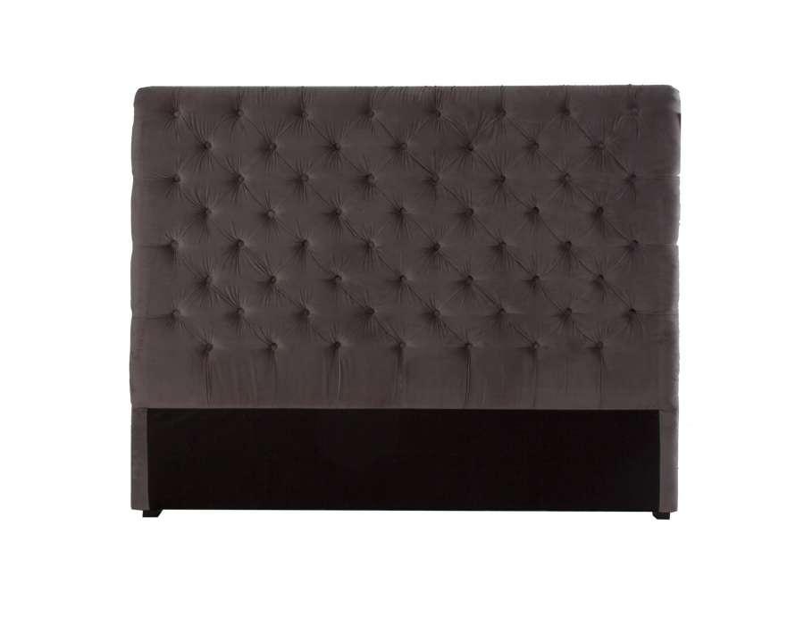 tete de lit velours capitonn e chocolat. Black Bedroom Furniture Sets. Home Design Ideas