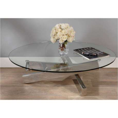 Table basse ronde en verre transparent et acier design for Table de salon ronde en verre